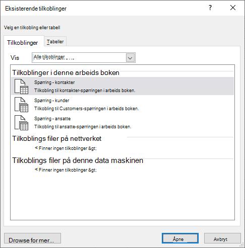 Den eksisterende Connectios-dialogboksen i Excel viser en liste over data kilder som for øyeblikket er i bruk i arbeids boken