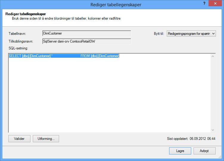SQL-spørring der den kortere standardsyntaksen brukes