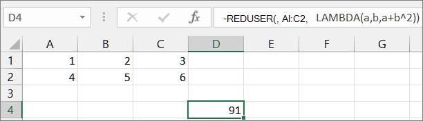 Første eksempel på REDUSER-funksjonen