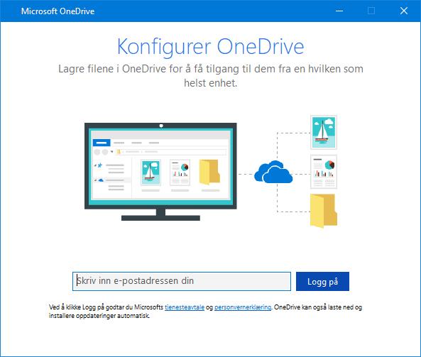 Nytt brukergrensesnitt for konfigurasjonsskjermen for OneDrive
