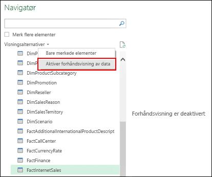 Power Query – mulighet til å deaktivere forhåndsvisninger fra Navigator-vinduet