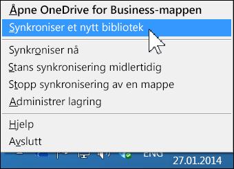OneDrive for Business-menyen i systemstatusfeltet i Windows