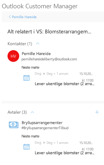 Vise alle relaterte aktiviteter for en kontakt