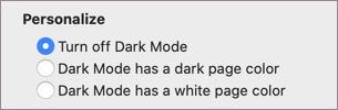 Mørk modus av-innstilling