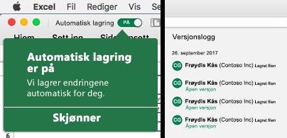Båndet i Excel med en boble for automatisk lagring til venstre og en versjonsloggliste til høyre