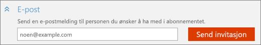 Nærbilde av skjermens «E-post»-del i «Legg til en person»-dialogboksen med «Send invitasjon»-knappen.