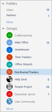Venstre navigasjonslinje fra Outlook i Office 365