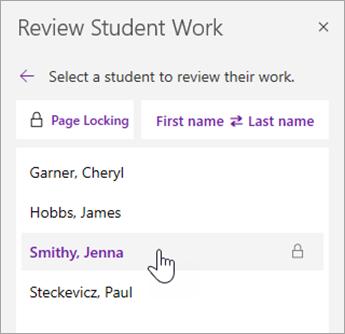 Velg navnet til en elev for å se gjennom arbeidet.