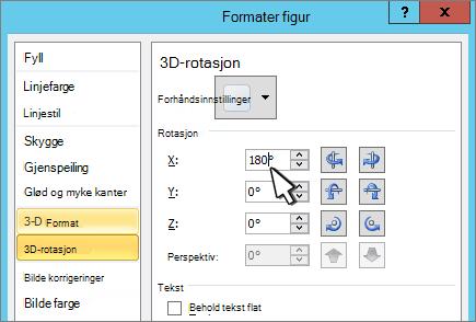 Dialog boksen formater figur med 3D X-rotasjon valgt