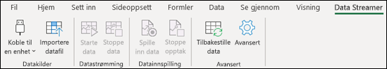 Data Streamer-tillegget på Excel-båndmenyen