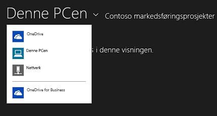 Velg OneDrive for Business fra en annen app