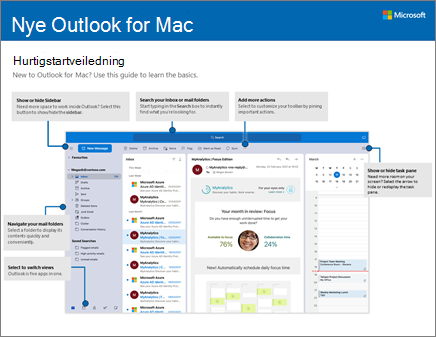 Hurtigstartveiledning for Outlook 2016 for Mac