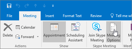 Knappen Alternativer for møte for Outlook