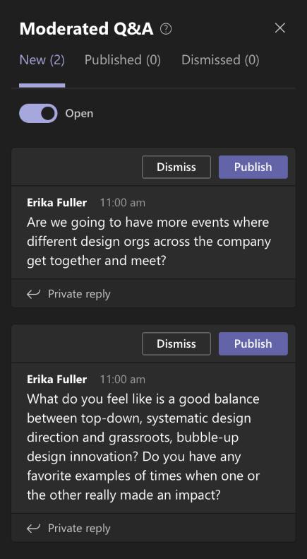 Q&A spørsmål-meny
