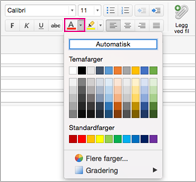 Skriftfargevelger i Outlook for Mac
