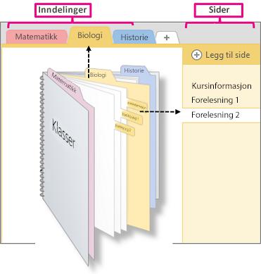 En oversikt over inndelinger og sider