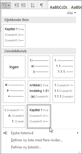 Bruk flernivålistene for kapitteloverskrifter til å formatere kapitteloverskrifter som skal inkluderes i bildetekster.