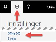 Et bilde som viser hvor du skal klikke i Innstillinger.