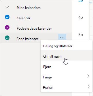 Et skjermbilde av hurtigmenyen for kalenderen, der Delingstillatelser er valgt.