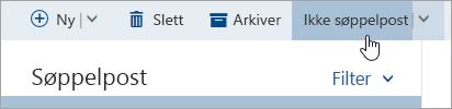 Et skjermbilde av knappen ikke søppelpost
