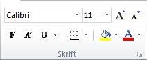 Skrift-gruppen i kategorien Hjem på Excel 2010-båndet.