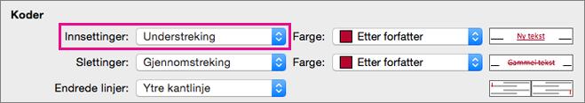 Innsettinger av typen Kode er uthevet i Spor endringer-boksen.