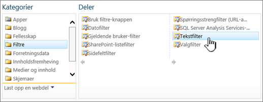 Velge tekstfilterwebdelen