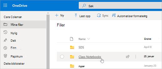 Velg klasse notat blokker fra mine filer.