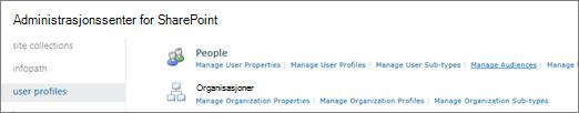 Koblingen Behandle målgrupper på siden profiler