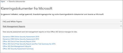 Viser Service Assurance-siden: Klareringsdokumenter leveres av Microsoft
