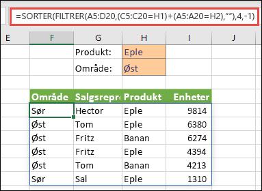 FILTRER og SORTER sammen – filtrer etter produkt (eple) ELLER etter område (øst)