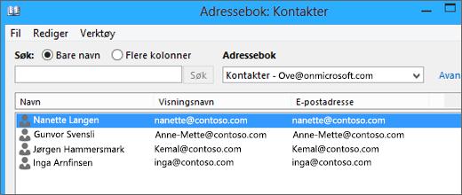 Når kontaktene er importert fra Google Gmail til Office 365, kan du se dem oppført i adresseboken Kontakter