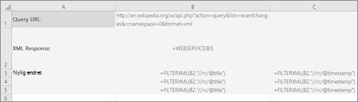 Et eksempel på FILTRERXML-funksjonen