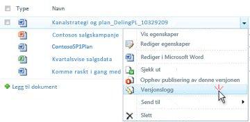 Rulle gardin liste for en SharePoint-fil. Versjons Logg er valgt.