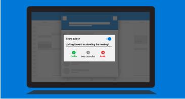 Nettbrettskjerm med ledeteksten Varsle arrangøren, som viser tilgjengelige svaralternativer og muligheten til å inkludere en kommentar