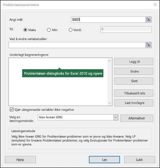 Bilde av dialogboksen Excel 2010 + Problemløser