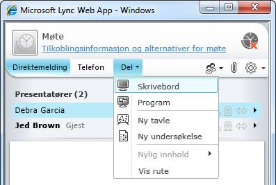 Del-menyen i Lync Web App