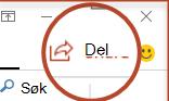 Del-knappen i PowerPoint 2016