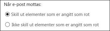 Rotemappe i Outlook på nettet
