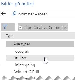 Velg Filter-knappen og velg Utklipp
