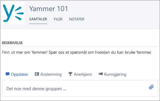 Et eksempel på en Yammer 101-gruppe