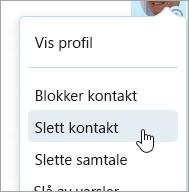 Et skjermbilde av alternativet Slett kontakt i Skype kontakt hurtigmeny
