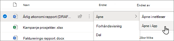 Meny alternativet åpne > åpen i app valgt for en Word-fil i OneDrive online-portalen