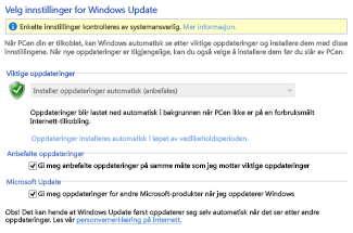 Innstillinger for Windows Update i kontrollpanelet i Windows 8