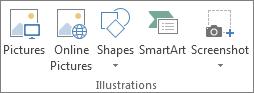 Illustrasjoner-gruppen på Sett inn-fanen i Excel