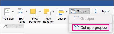 Hvis du vil oppløsning en gruppering, klikker du Del opp gruppe i kategorien Formater figur eller fanen bildeformat.