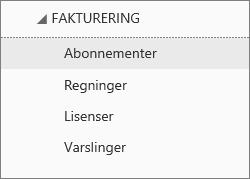 Skjermbilde som viser Abonnementer i Fakturering-menyen i administrasjonssenteret for Office 365.