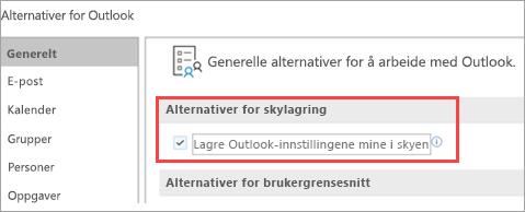 Viser alternativer for Outlook-innstillinger