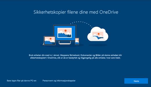 Skjermbilde av OneDrive-siden som vises når du bruker Windows 10 for første gang
