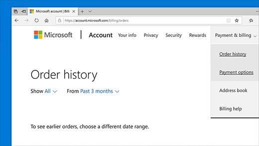 Sjekk ordrehistorikken i Microsoft-kontoen din
